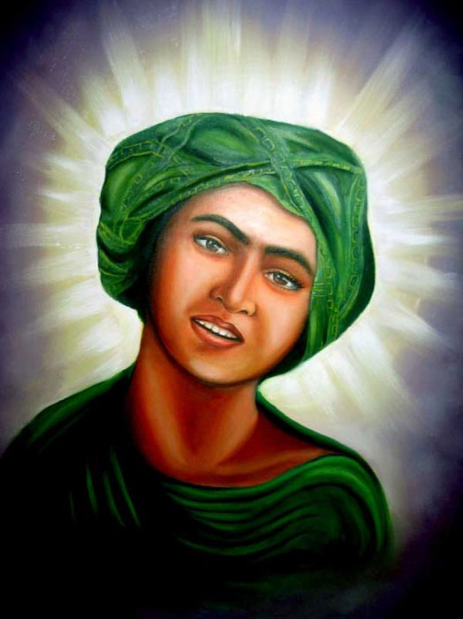 Portrait of young Muhammad with a sacred halo, based on Rudolf Franz Lehnert's photograph of a Tunisian boy