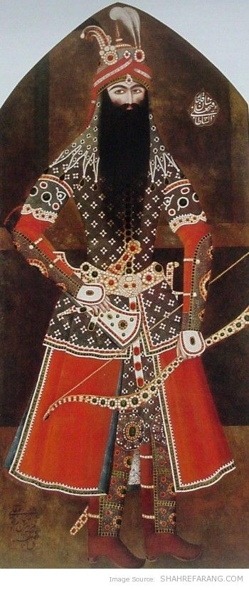 Fath-Ali Shah in Armor, by Mehr Ali, 1814-15, Smithsonian Institution