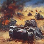 The Downfall of the Dictators is Assured. British tanks on the attack in the african desert. Dictators shall be defeated. © IWM (Art.IWM PST 16878) - دیکتاتورها شکست خواهند خورد
