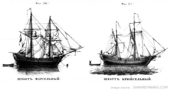 Old Russian merchant ships that were used in the Caspian sea in the 17th and early 18 centuries.