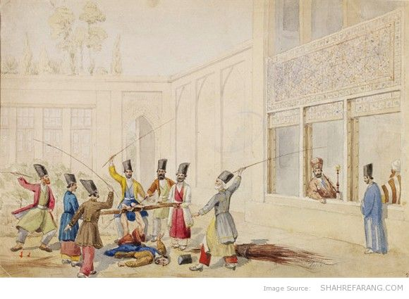Bastinado in Persian (1864-1874). Watercolor over pencil by William Henry Pierson