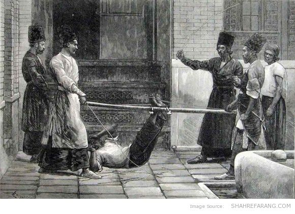 Bastinado in Persia, The Illustrated London News (1872)