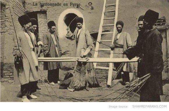 Falak whipping in Persia. Postcard, Early 20th Century.