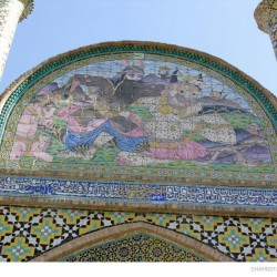 "Mosaic panel ""Rostam kills White Deev"" on an entrance to Arg of Semnan, Iran"