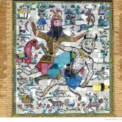 "Mosaic panel ""Rostam kills White Deev"" on an entrance to Arg of Karim Khan, Late 1700s, Shiraz"