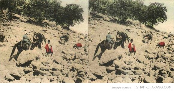 Original Stereoscopic Image of the Road to Shiraz