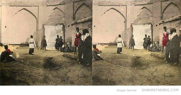Original Stereoscopic Image of a Street in Shiraz