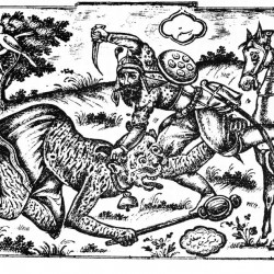 Rostam kills White Deev, illustrated by Mostafa, 1889, Tehran