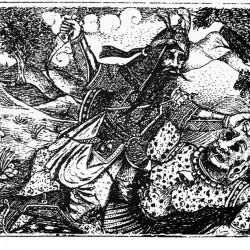 Rostam kills White Deev, illustrated by Abdolhoseyn and Karbalai Hasan Naqqash, Tabriz, 1898