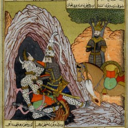 Rostam kills White Deev from an Ottoman Shahnameh in Turkish, ~1590, (British Library)