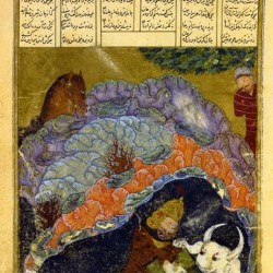 Rostam kills White Deev, Timurid period, Circa 1400, Dublin Chester Beatty Library