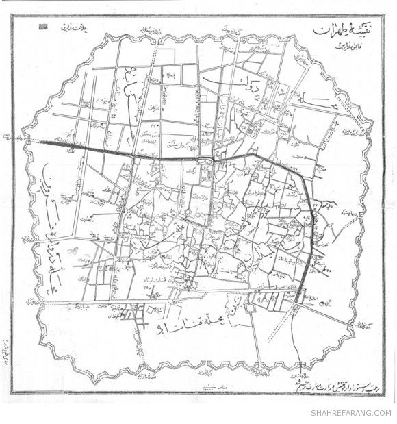Map of Foreign Schools in Tehran, the 1920s