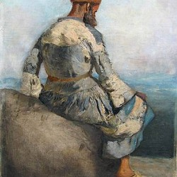 Persian Peasant Seated atop a Rock